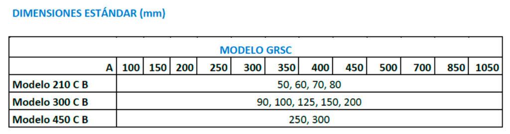Cuadro medidas detector metales GRSC